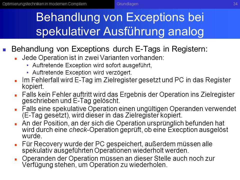 Optimierungstechniken in modernen CompilernGrundlagen34 Behandlung von Exceptions bei spekulativer Ausführung analog Behandlung von Exceptions durch E