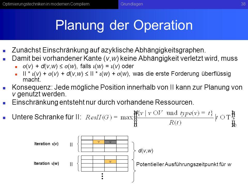 Optimierungstechniken in modernen CompilernGrundlagen38 Planung der Operation Zunächst Einschränkung auf azyklische Abhängigkeitsgraphen. Damit bei vo