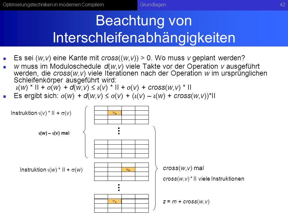 Optimierungstechniken in modernen CompilernGrundlagen42 Beachtung von Interschleifenabhängigkeiten Es sei (w,v) eine Kante mit cross((w,v)) > 0. Wo mu