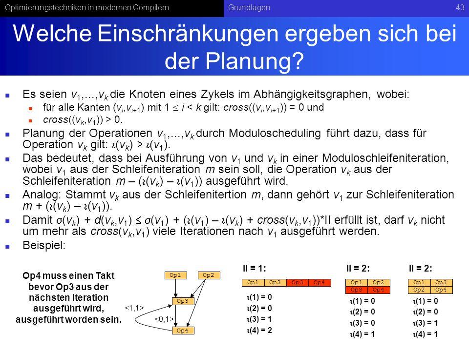 Optimierungstechniken in modernen CompilernGrundlagen43 Welche Einschränkungen ergeben sich bei der Planung? Es seien v 1,...,v k die Knoten eines Zyk
