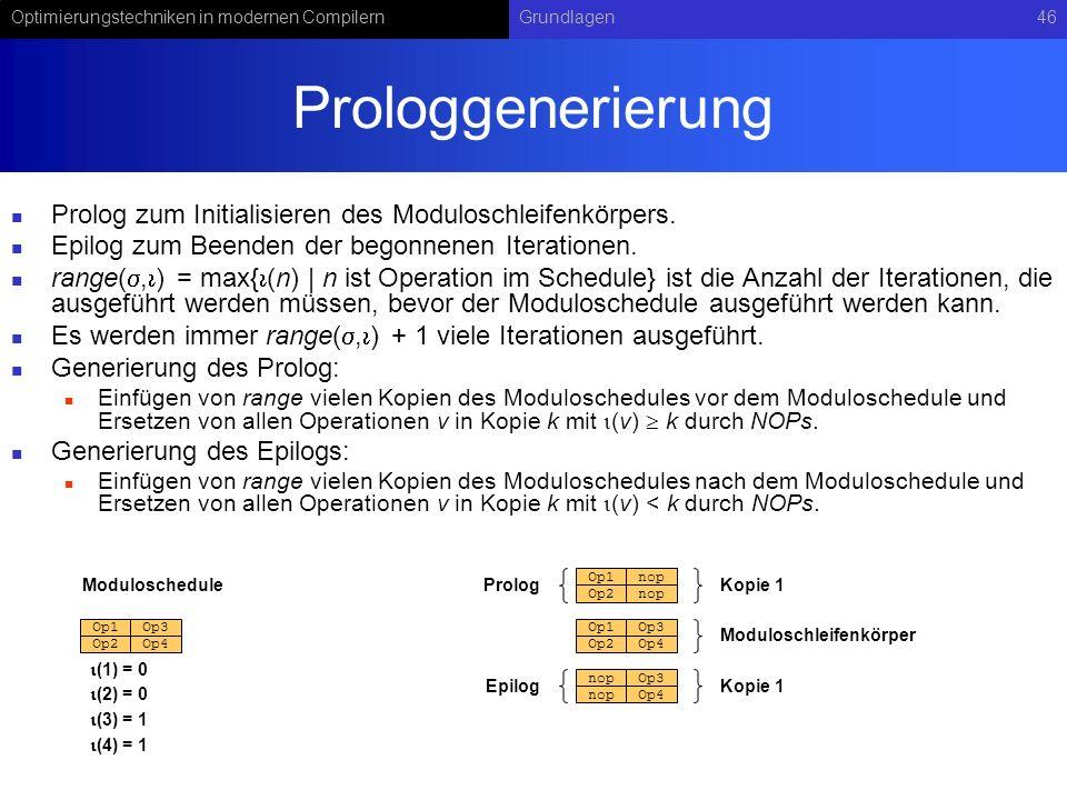 Optimierungstechniken in modernen CompilernGrundlagen46 Prologgenerierung Prolog zum Initialisieren des Moduloschleifenkörpers. Epilog zum Beenden der