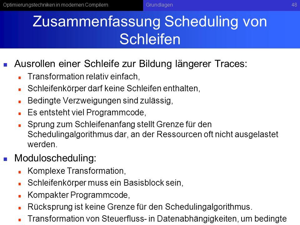 Optimierungstechniken in modernen CompilernGrundlagen48 Zusammenfassung Scheduling von Schleifen Ausrollen einer Schleife zur Bildung längerer Traces: