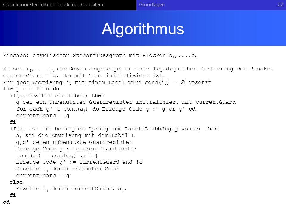 Optimierungstechniken in modernen CompilernGrundlagen52 Algorithmus Eingabe: azyklischer Steuerflussgraph mit Blöcken b 1,...,b n Es sei i 1,...,i n d