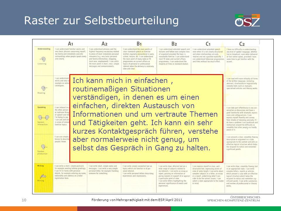 Förderung von Mehrsprachigkeit mit dem ESP/April 2011 10 Raster zur Selbstbeurteilung Ich kann mich in einfachen, routinemaßigen Situationen verständi