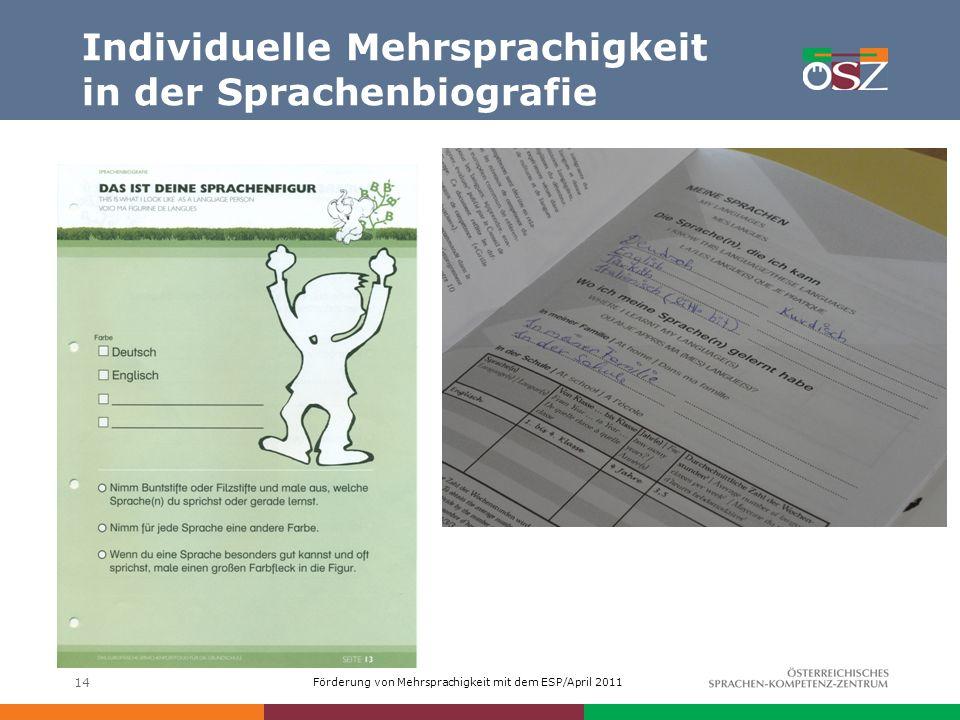 Förderung von Mehrsprachigkeit mit dem ESP/April 2011 Individuelle Mehrsprachigkeit in der Sprachenbiografie 14