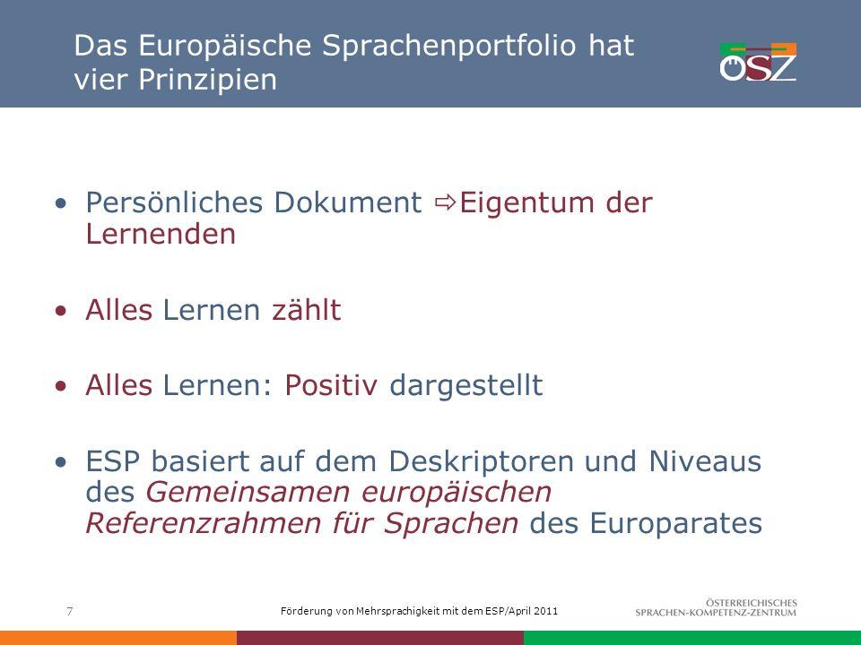 Förderung von Mehrsprachigkeit mit dem ESP/April 2011 Das Europäische Sprachenportfolio hat vier Prinzipien 7 Persönliches Dokument Eigentum der Lerne