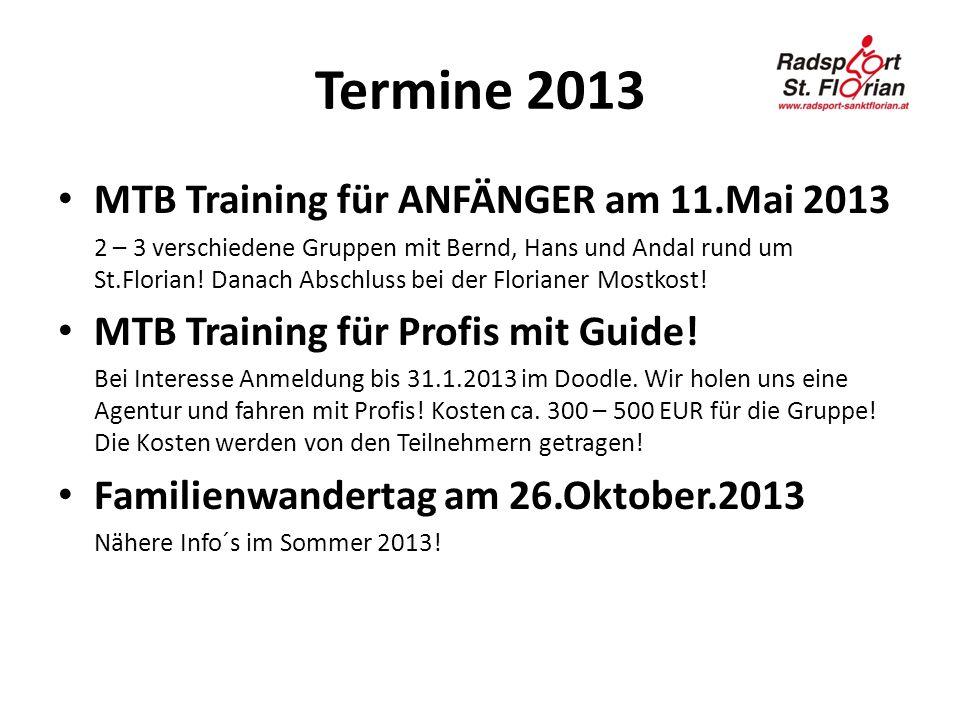 Termine 2013 MTB Training für ANFÄNGER am 11.Mai 2013 2 – 3 verschiedene Gruppen mit Bernd, Hans und Andal rund um St.Florian! Danach Abschluss bei de