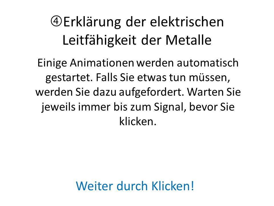 Erklärung der elektrischen Leitfähigkeit der Metalle Einige Animationen werden automatisch gestartet.