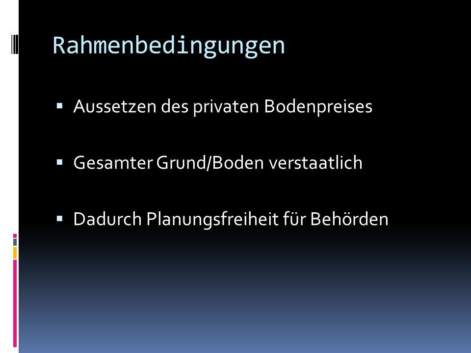 Rahmenbedingungen Aussetzen des privaten Bodenpreises Gesamter Grund/Boden verstaatlich Dadurch Planungsfreiheit für Behörden