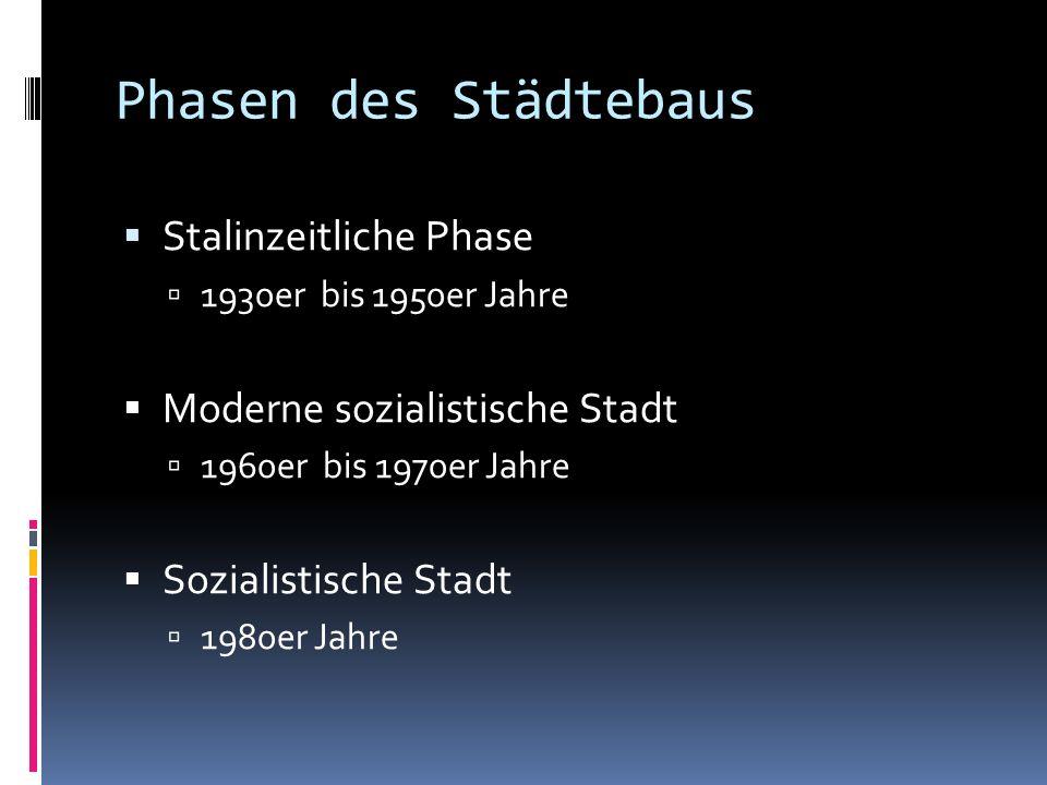 Phasen des Städtebaus Stalinzeitliche Phase 1930er bis 1950er Jahre Moderne sozialistische Stadt 1960er bis 1970er Jahre Sozialistische Stadt 1980er Jahre