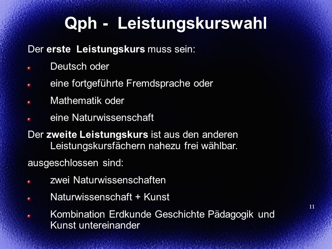 11 Qph - Leistungskurswahl Der erste Leistungskurs muss sein: Deutsch oder eine fortgeführte Fremdsprache oder Mathematik oder eine Naturwissenschaft