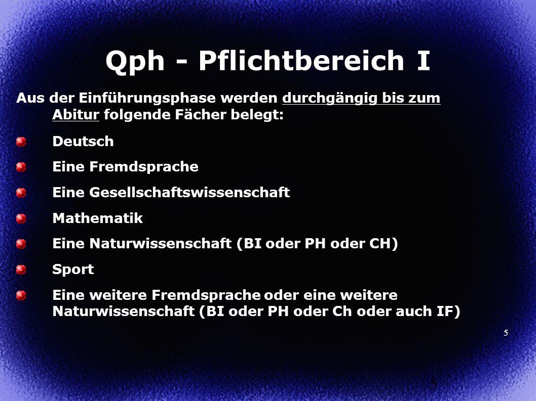 5 Aus der Einführungsphase werden durchgängig bis zum Abitur folgende Fächer belegt: Deutsch Eine Fremdsprache Eine Gesellschaftswissenschaft Mathemat