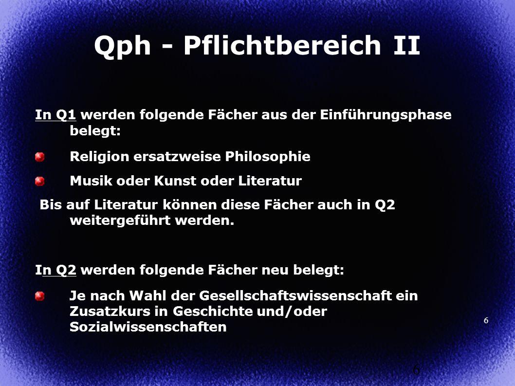 6 In Q1 werden folgende Fächer aus der Einführungsphase belegt: Religion ersatzweise Philosophie Musik oder Kunst oder Literatur Bis auf Literatur kön