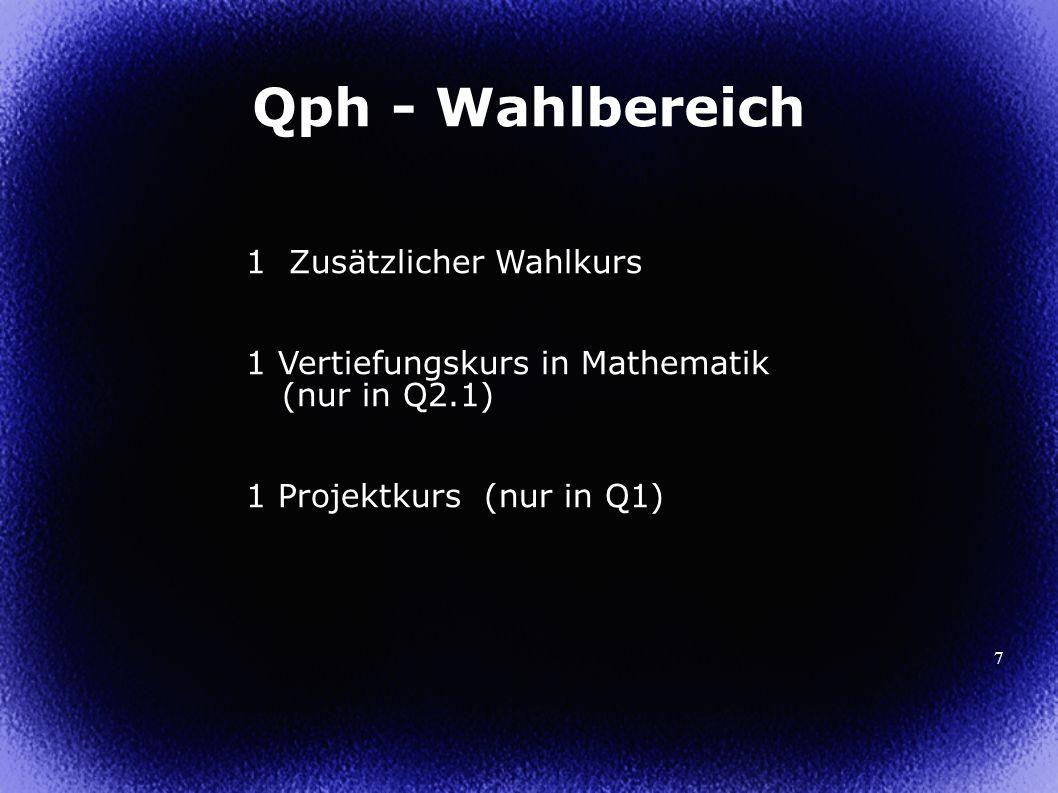 8 Zweistündige Jahreskurse in Q1 in Anbindung an ein Fach (LK oder GK aus Q1) Benotung am Ende des 2.