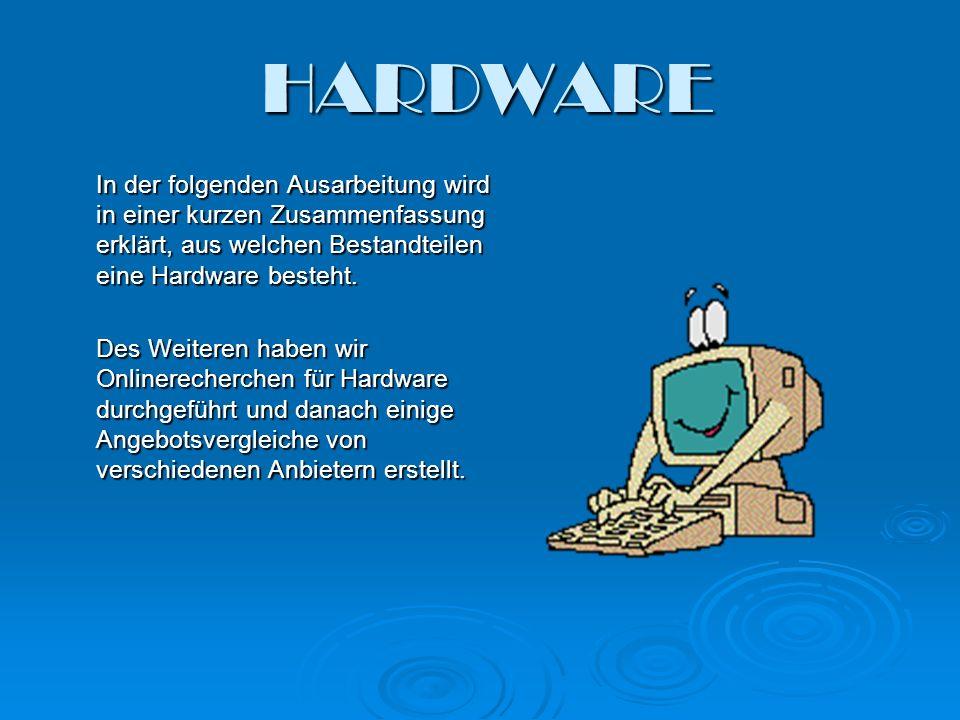 HARDWARE In der folgenden Ausarbeitung wird in einer kurzen Zusammenfassung erklärt, aus welchen Bestandteilen eine Hardware besteht. Des Weiteren hab