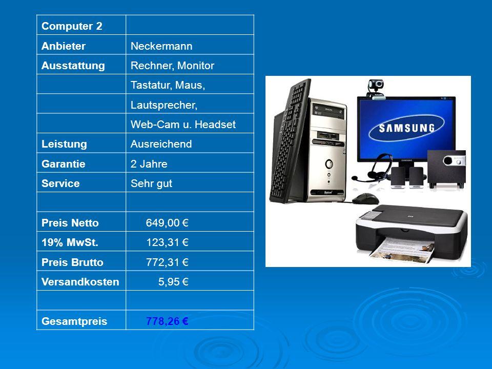 Computer 2 AnbieterNeckermann AusstattungRechner, Monitor Tastatur, Maus, Lautsprecher, Web-Cam u. Headset LeistungAusreichend Garantie2 Jahre Service
