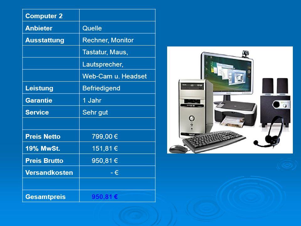 Computer 2 AnbieterQuelle AusstattungRechner, Monitor Tastatur, Maus, Lautsprecher, Web-Cam u. Headset LeistungBefriedigend Garantie1 Jahr ServiceSehr