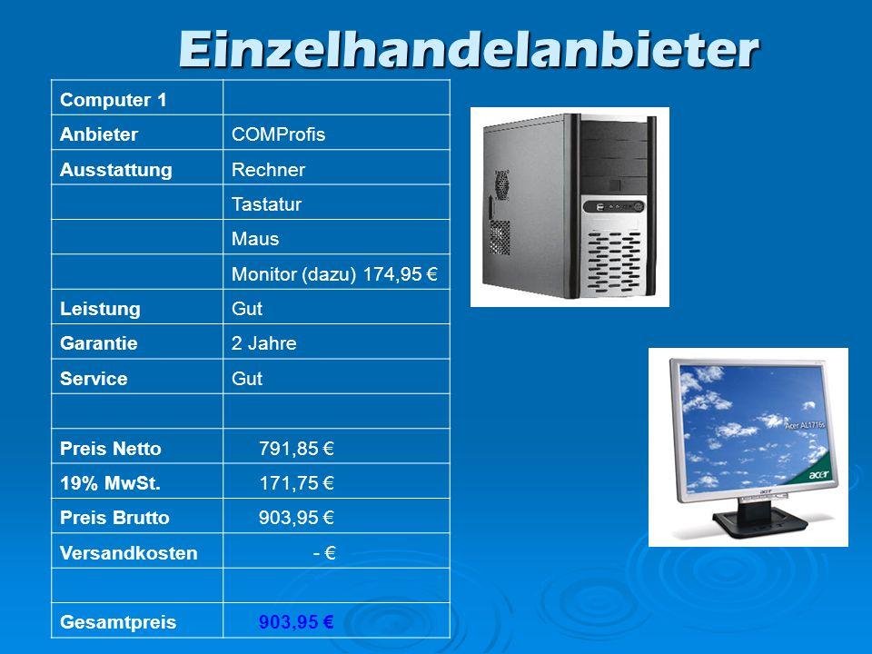 Computer 1 AnbieterCOMProfis AusstattungRechner Tastatur Maus Monitor (dazu) 174,95 LeistungGut Garantie2 Jahre ServiceGut Preis Netto 791,85 19% MwSt.