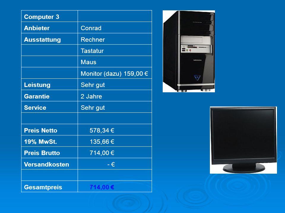 Computer 3 AnbieterConrad AusstattungRechner Tastatur Maus Monitor (dazu) 159,00 LeistungSehr gut Garantie2 Jahre ServiceSehr gut Preis Netto 578,34 1