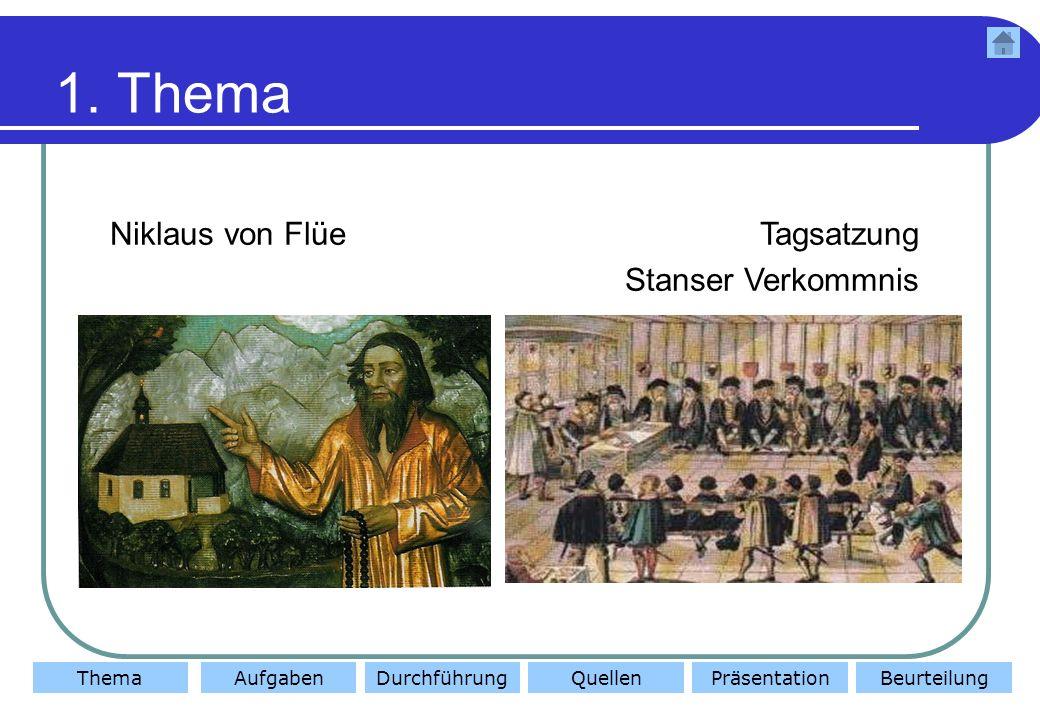 ThemaAufgabenDurchführungQuellenBeurteilungPräsentation 2.