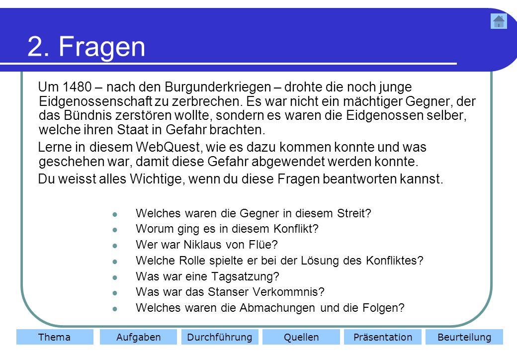 ThemaAufgabenDurchführungQuellenBeurteilungPräsentation 3.