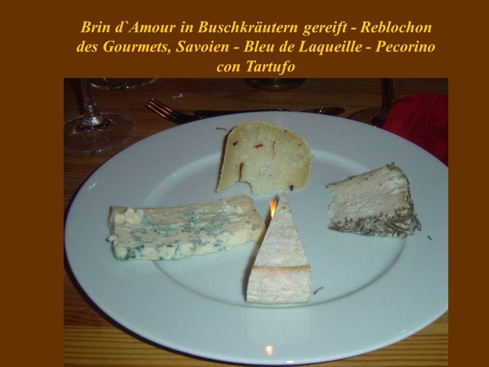 Brin d`Amour in Buschkräutern gereift - Reblochon des Gourmets, Savoien - Bleu de Laqueille - Pecorino con Tartufo