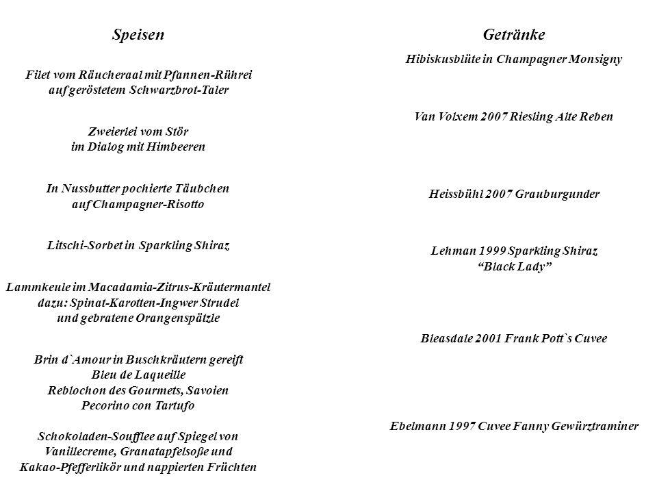 Speisen Filet vom Räucheraal mit Pfannen-Rührei auf geröstetem Schwarzbrot-Taler Zweierlei vom Stör im Dialog mit Himbeeren In Nussbutter pochierte Tä