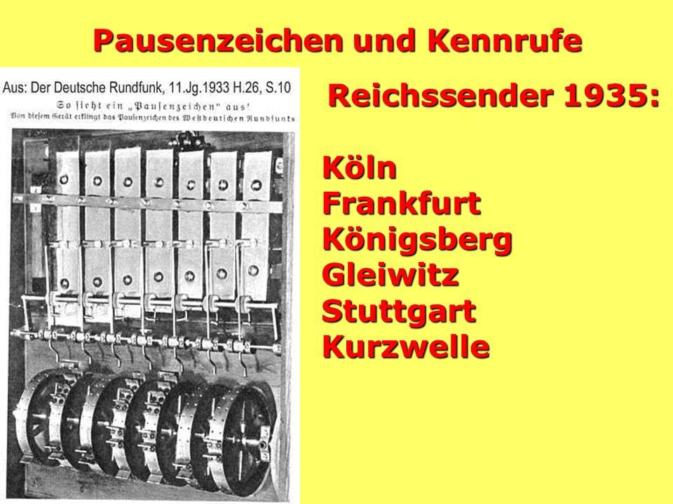 Pausenzeichen und Kennrufe Reichssender 1935: KölnFrankfurtKönigsbergGleiwitzStuttgartKurzwelle