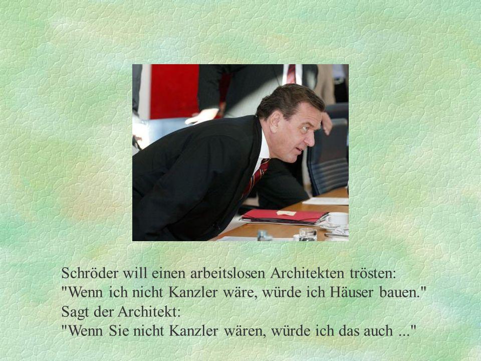 Schröder will einen arbeitslosen Architekten trösten: Wenn ich nicht Kanzler wäre, würde ich Häuser bauen. Sagt der Architekt: Wenn Sie nicht Kanzler wären, würde ich das auch...