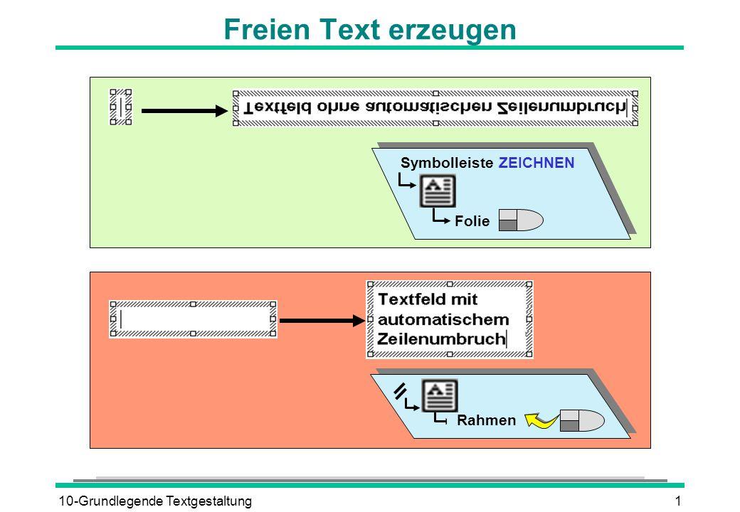 10-Grundlegende Textgestaltung1 Freien Text erzeugen Symbolleiste ZEICHNEN Folie Rahmen