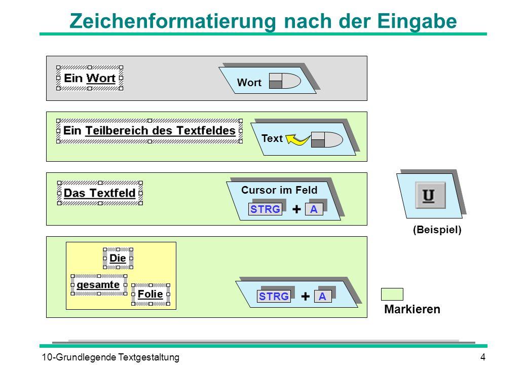 10-Grundlegende Textgestaltung4 Zeichenformatierung nach der Eingabe Wort Text STRG A A + A A + Cursor im Feld (Beispiel) Markieren