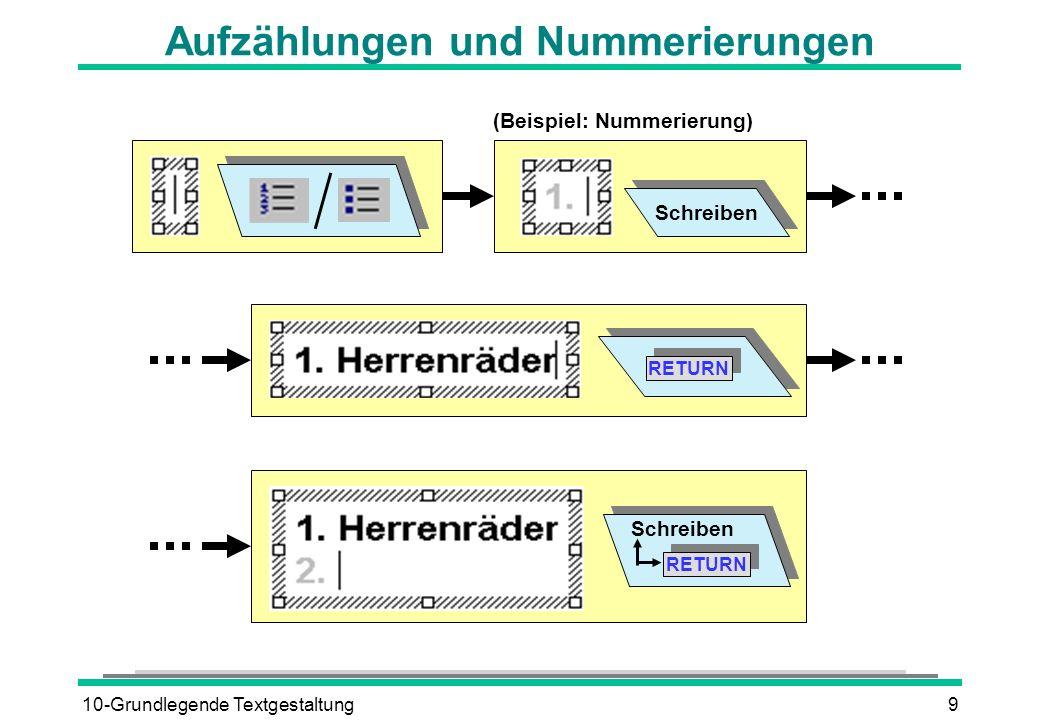 10-Grundlegende Textgestaltung9 Aufzählungen und Nummerierungen Schreiben RETURN Schreiben (Beispiel: Nummerierung)