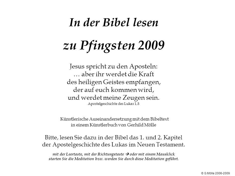 In der Bibel lesen zu Pfingsten 2009 Jesus spricht zu den Aposteln: … aber ihr werdet die Kraft des heiligen Geistes empfangen, der auf euch kommen wird, und werdet meine Zeugen sein.