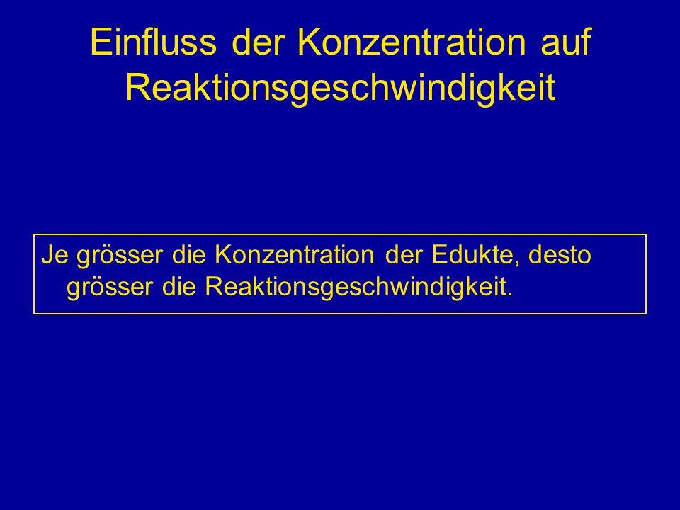 Einfluss der Konzentration auf Reaktionsgeschwindigkeit Je grösser die Konzentration der Edukte, desto grösser die Reaktionsgeschwindigkeit.
