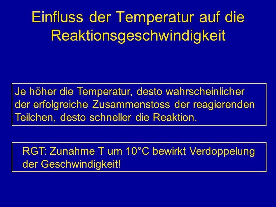 Einfluss der Temperatur auf die Reaktionsgeschwindigkeit Je höher die Temperatur, desto wahrscheinlicher der erfolgreiche Zusammenstoss der reagierend
