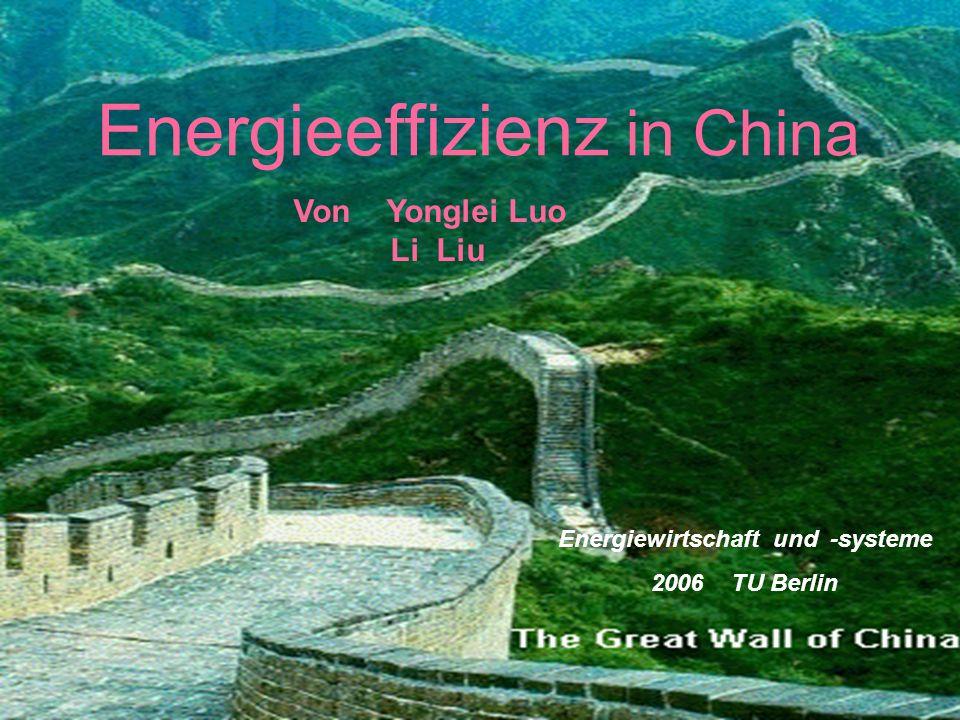 1 Energieeffizienz in China Von Yonglei Luo Li Liu Energiewirtschaft und -systeme 2006 TU Berlin