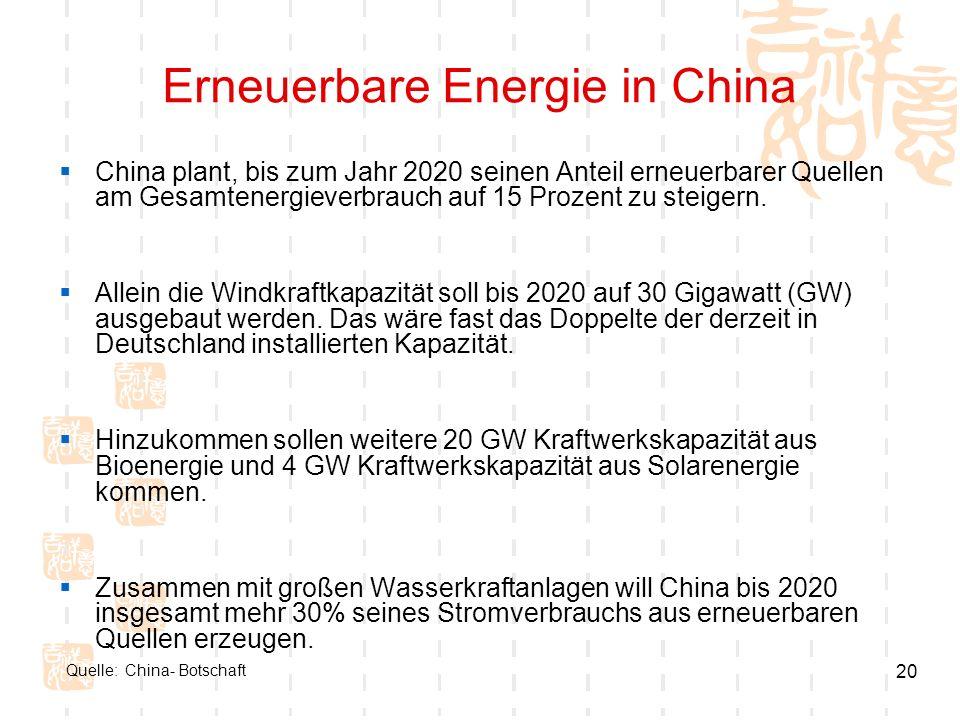 20 Erneuerbare Energie in China China plant, bis zum Jahr 2020 seinen Anteil erneuerbarer Quellen am Gesamtenergieverbrauch auf 15 Prozent zu steigern