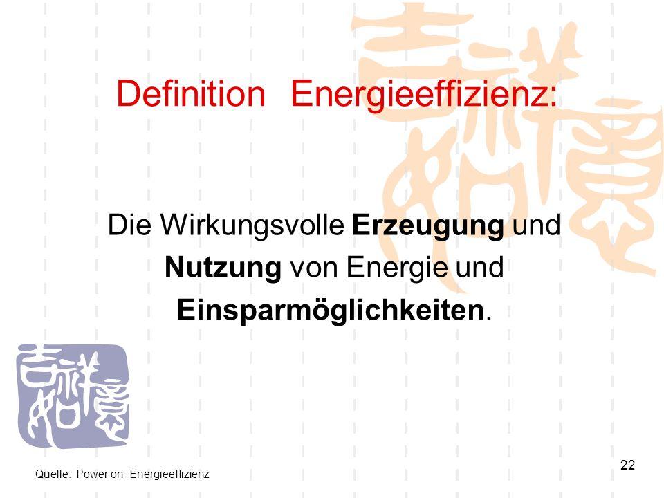 22 Definition Energieeffizienz: Die Wirkungsvolle Erzeugung und Nutzung von Energie und Einsparmöglichkeiten. Quelle: Power on Energieeffizienz