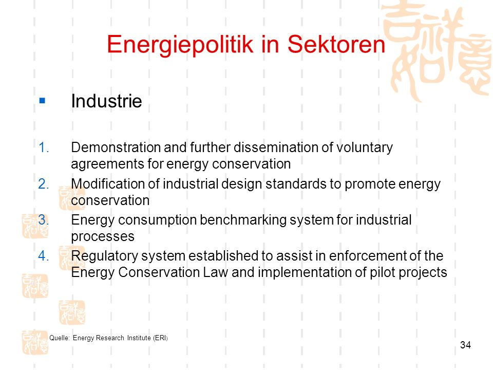 34 Energiepolitik in Sektoren Industrie 1.Demonstration and further dissemination of voluntary agreements for energy conservation 2.Modification of industrial design standards to promote energy conservation 3.Energy consumption benchmarking system for industrial processes 4.Regulatory system established to assist in enforcement of the Energy Conservation Law and implementation of pilot projects Quelle: Energy Research Institute (ERI )