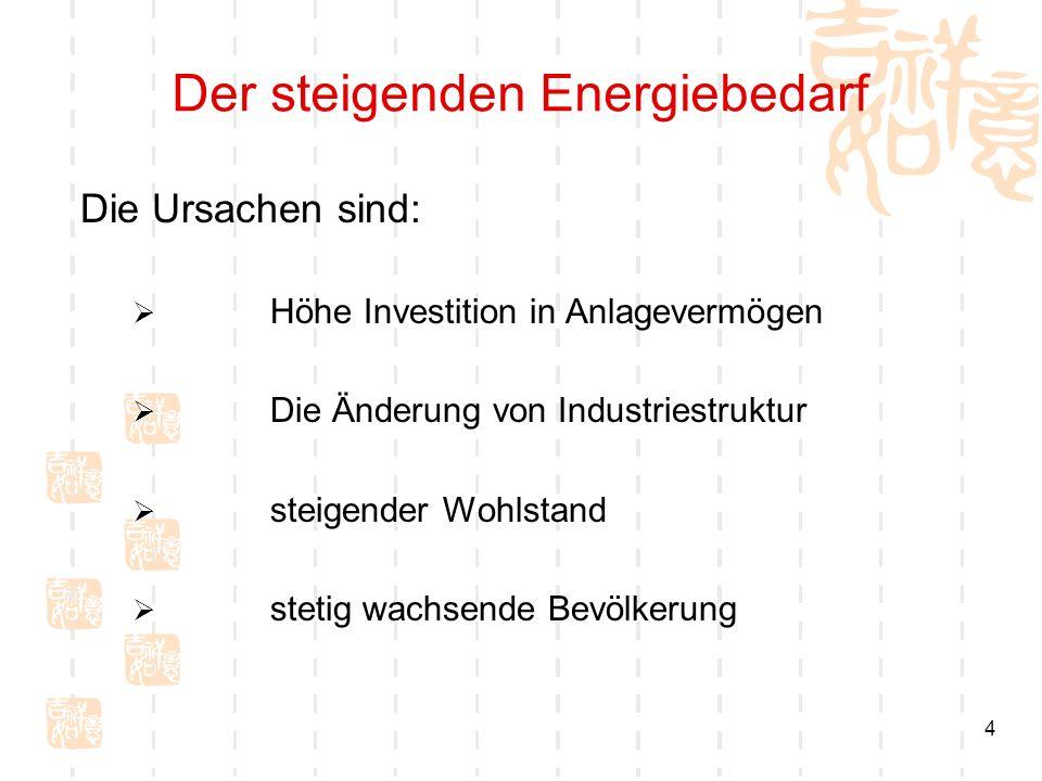 4 Der steigenden Energiebedarf Die Ursachen sind: Höhe Investition in Anlagevermögen Die Änderung von Industriestruktur steigender Wohlstand stetig wa