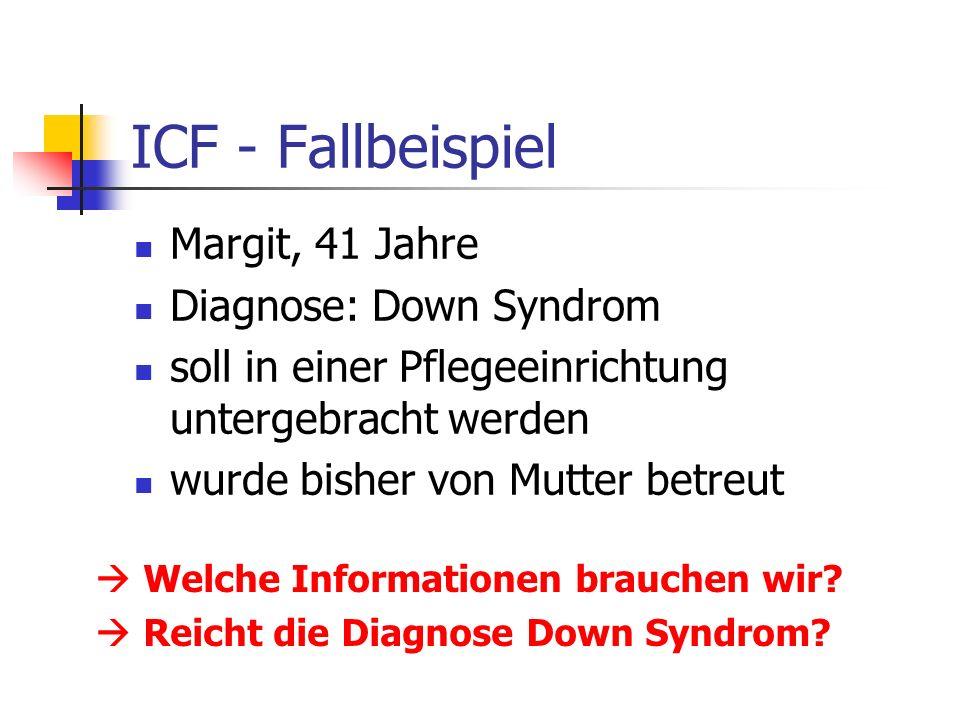 ICF - Fallbeispiel Margit, 41 Jahre Diagnose: Down Syndrom soll in einer Pflegeeinrichtung untergebracht werden wurde bisher von Mutter betreut Welche Informationen brauchen wir.