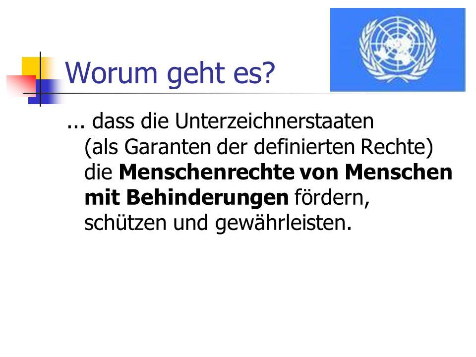 Worum geht es?... dass die Unterzeichnerstaaten (als Garanten der definierten Rechte) die Menschenrechte von Menschen mit Behinderungen fördern, schüt