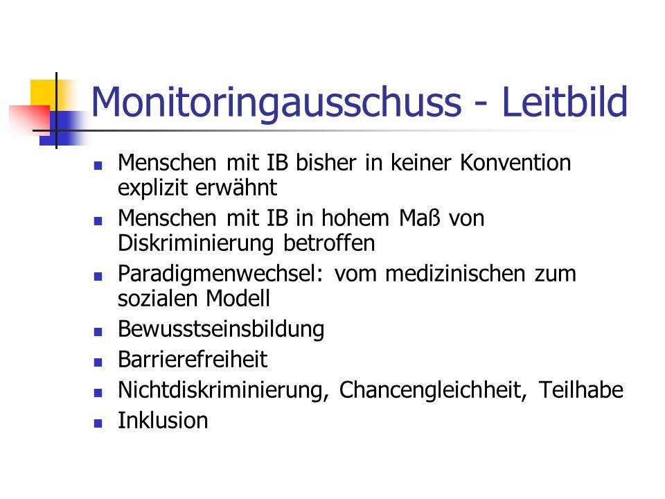 Monitoringausschuss - Leitbild Menschen mit IB bisher in keiner Konvention explizit erwähnt Menschen mit IB in hohem Maß von Diskriminierung betroffen