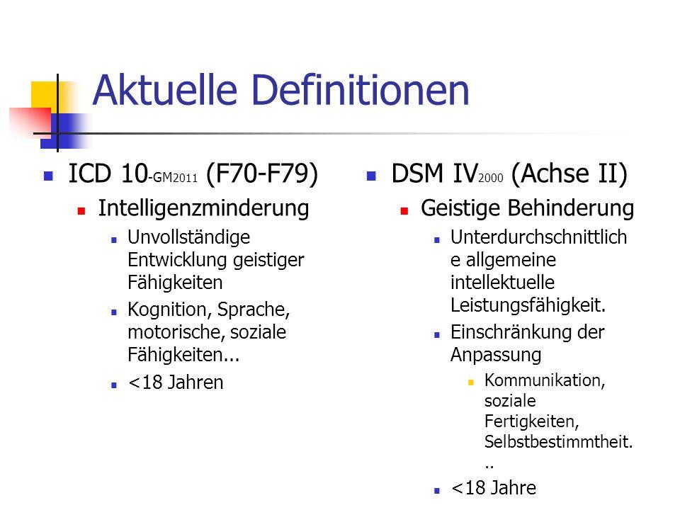 Aktuelle Definitionen ICD 10 -GM 2011 (F70-F79) Intelligenzminderung Unvollständige Entwicklung geistiger Fähigkeiten Kognition, Sprache, motorische, soziale Fähigkeiten...