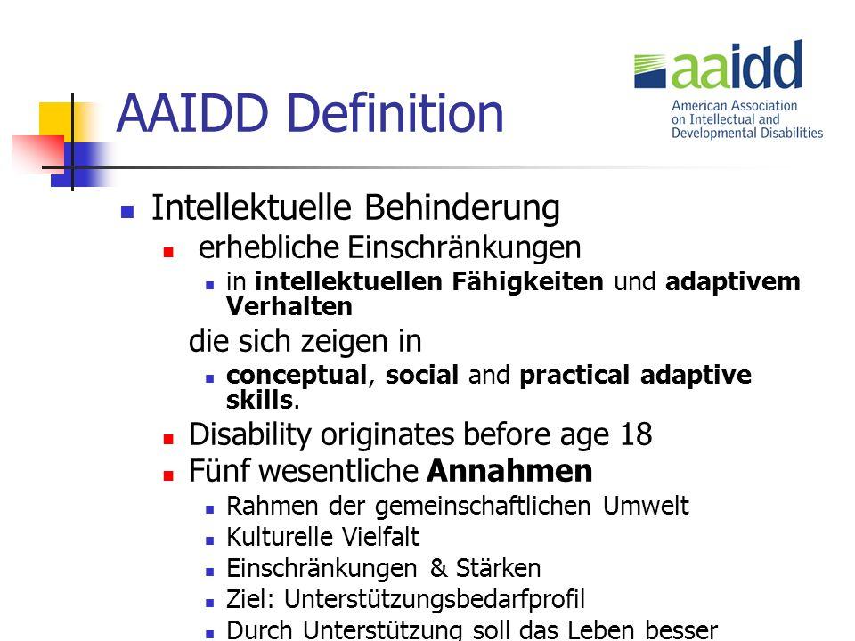 AAIDD Definition Intellektuelle Behinderung erhebliche Einschränkungen in intellektuellen Fähigkeiten und adaptivem Verhalten die sich zeigen in conceptual, social and practical adaptive skills.