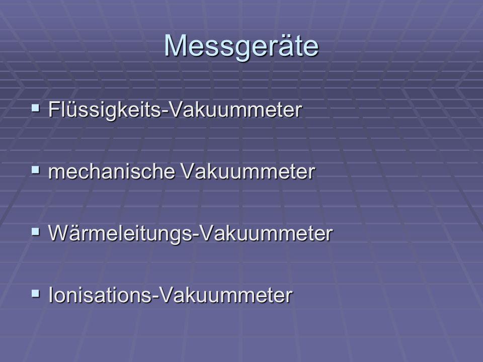 Messgeräte Flüssigkeits-Vakuummeter Flüssigkeits-Vakuummeter mechanische Vakuummeter mechanische Vakuummeter Wärmeleitungs-Vakuummeter Wärmeleitungs-V
