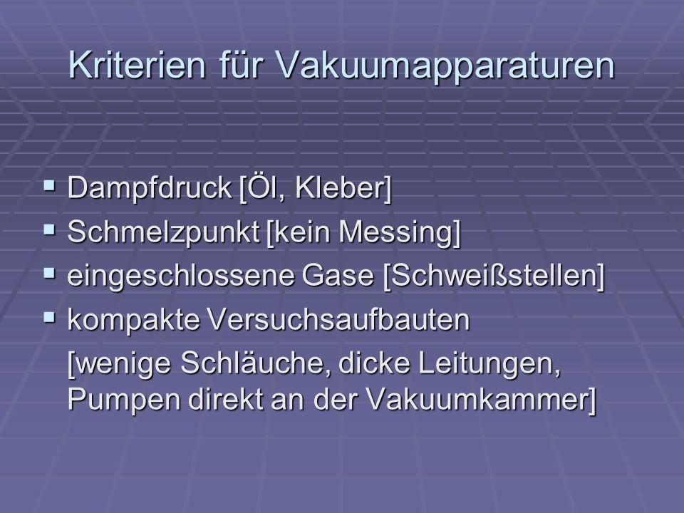 Kriterien für Vakuumapparaturen Dampfdruck [Öl, Kleber] Dampfdruck [Öl, Kleber] Schmelzpunkt [kein Messing] Schmelzpunkt [kein Messing] eingeschlossen
