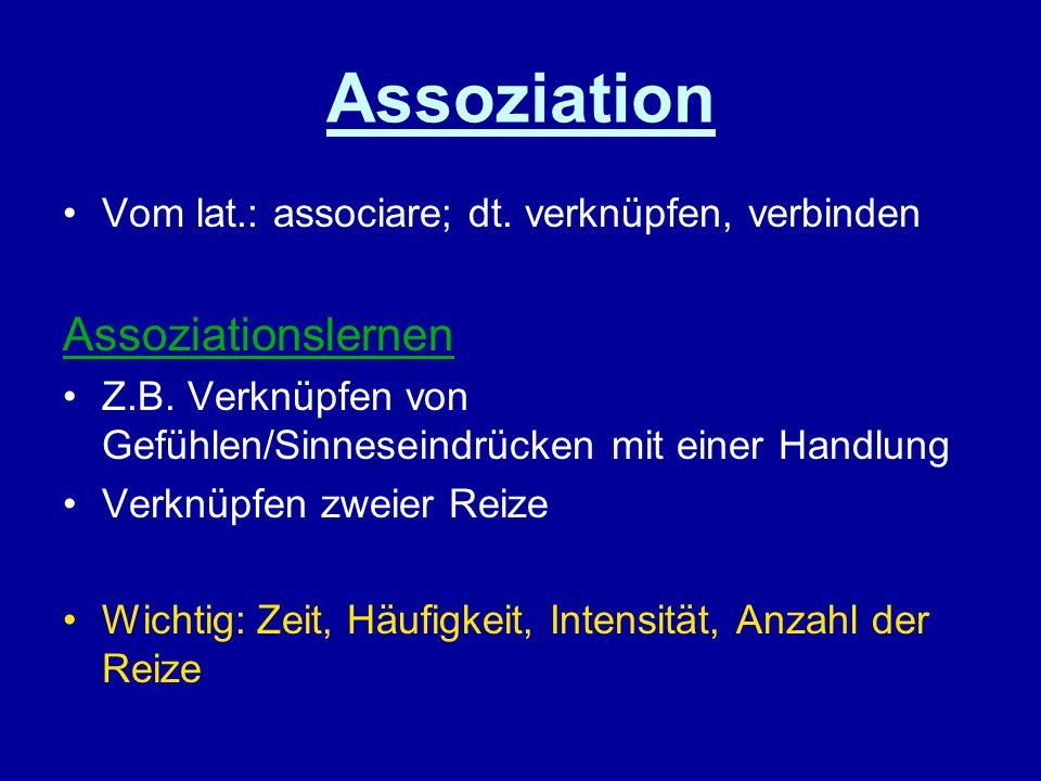 Assoziation Vom lat.: associare; dt. verknüpfen, verbinden Assoziationslernen Z.B. Verknüpfen von Gefühlen/Sinneseindrücken mit einer Handlung Verknüp