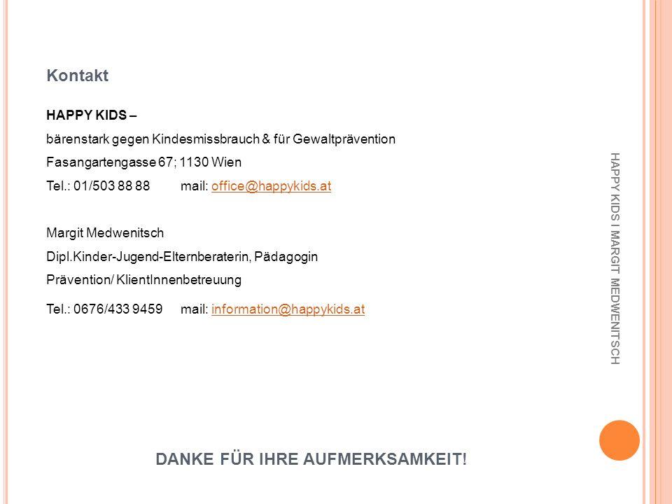Kontakt HAPPY KIDS I MARGIT MEDWENITSCH HAPPY KIDS – bärenstark gegen Kindesmissbrauch & für Gewaltprävention Fasangartengasse 67; 1130 Wien Tel.: 01/
