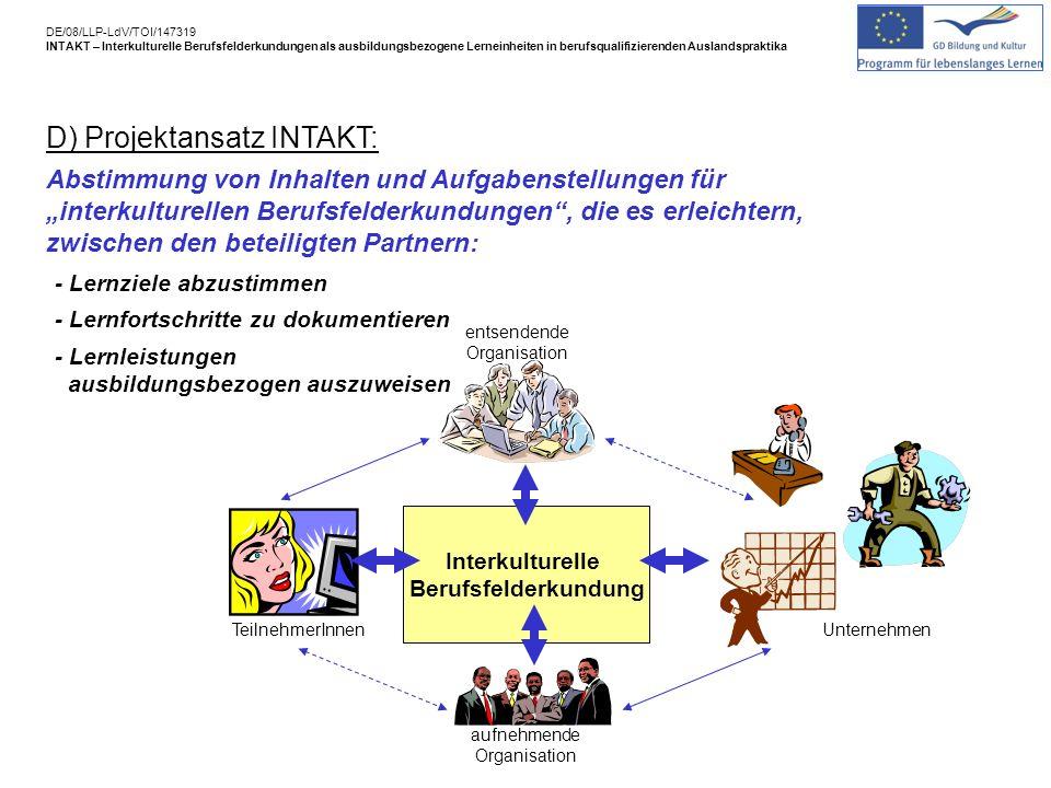 D) Projektansatz INTAKT: Abstimmung von Inhalten und Aufgabenstellungen für interkulturellen Berufsfelderkundungen, die es erleichtern, zwischen den beteiligten Partnern: Interkulturelle Berufsfelderkundung - Lernziele abzustimmen - Lernfortschritte zu dokumentieren - Lernleistungen ausbildungsbezogen auszuweisen TeilnehmerInnen aufnehmende Organisation Unternehmen entsendende Organisation DE/08/LLP-LdV/TOI/147319 INTAKT – Interkulturelle Berufsfelderkundungen als ausbildungsbezogene Lerneinheiten in berufsqualifizierenden Auslandspraktika